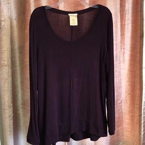 Purple V-neck Long Sleeve Sweater